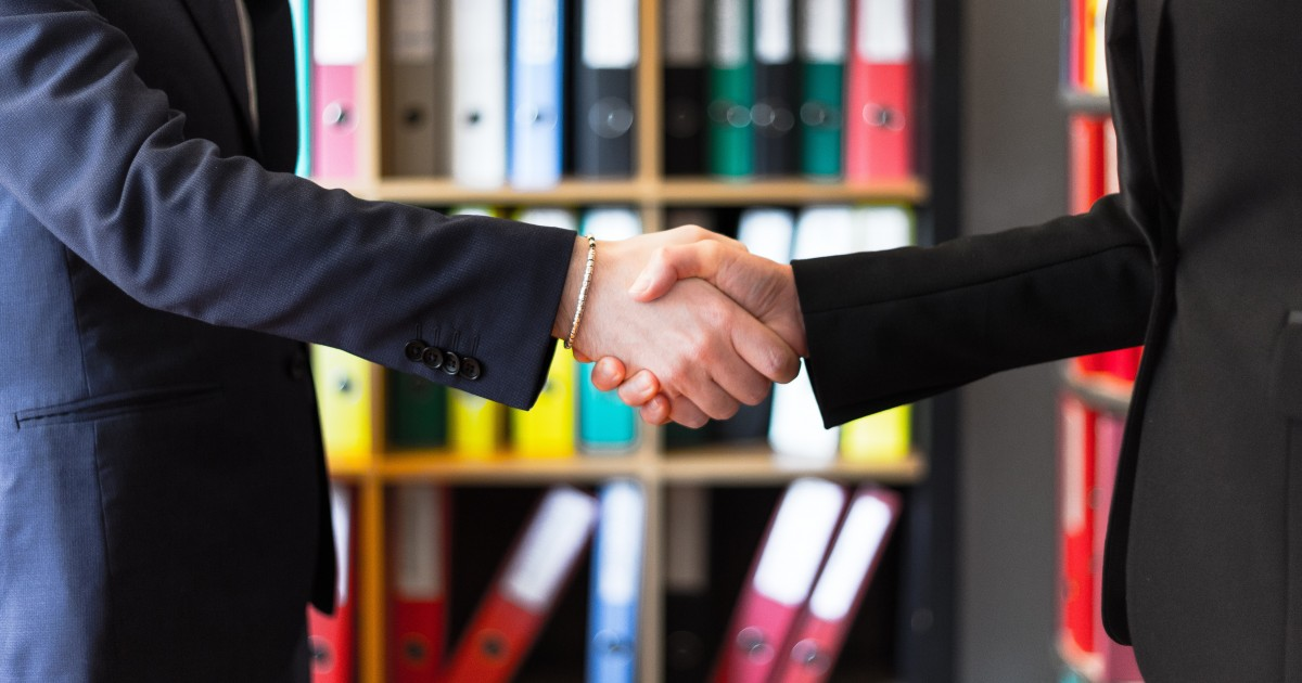 Shaking hands over a successful relationship