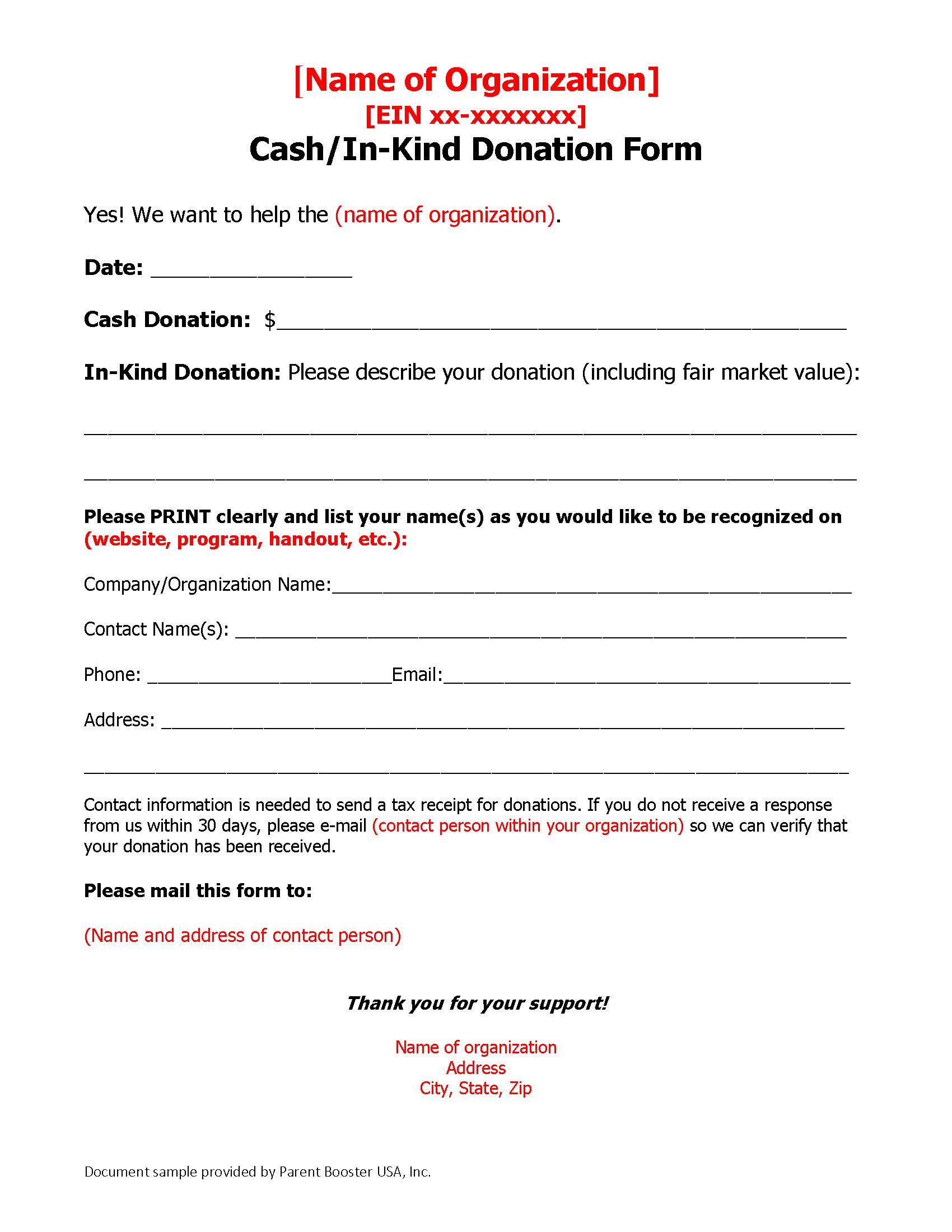 A sample donation solicitation template page 2